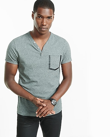 y-neck bonded pocket henley t-shirt