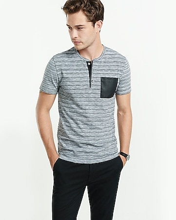 striped contrast pocket henley t-shirt