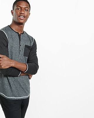 Express Mens Speckled Color Block Henley