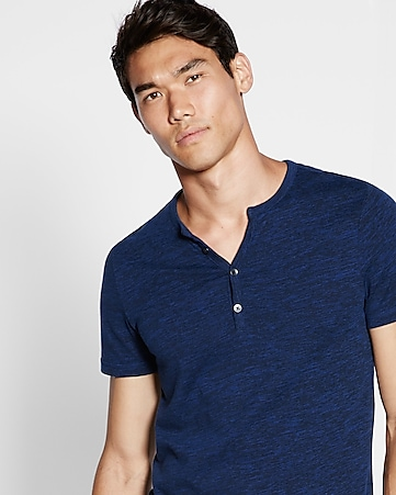 space dyed short sleeve henley