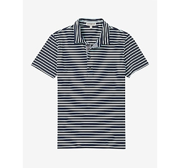 striped chambray placket signature polo