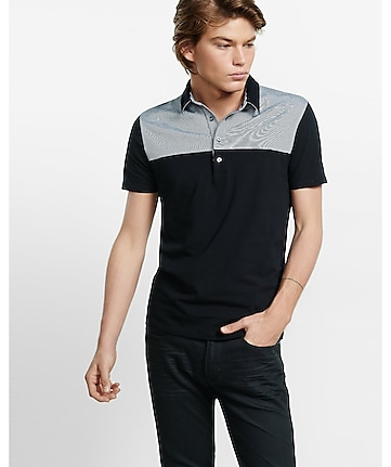striped yoke signature polo