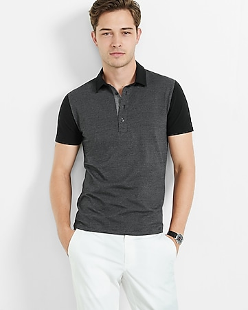 striped color block signature polo