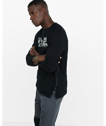 black circle EXP zip hem graphic sweatshirt