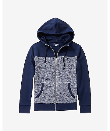 small lion color block zip front hoodie