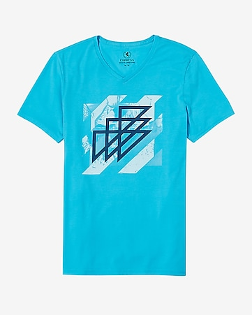 geo triangles graphic v-neck t-shirt