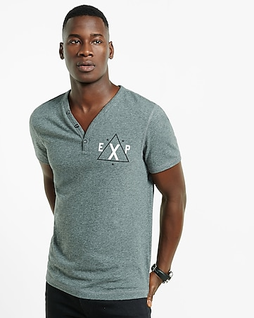 small EXP triangle y-neck henley