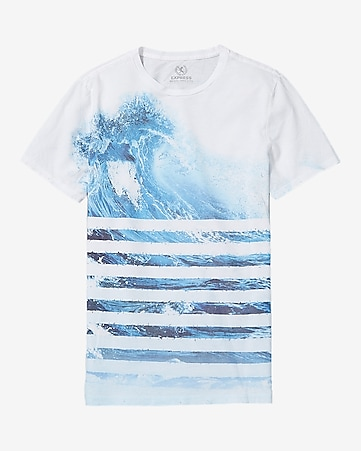 ocean wave bars graphic t-shirt