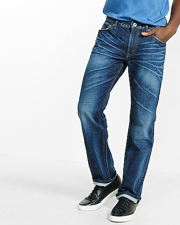 boot leg loose fit dark wash jean