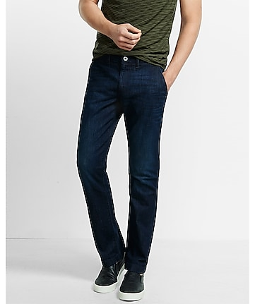 slim dark blue denim finn chino pant