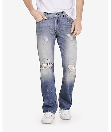 slim fit rocco heavy distressed boot cut jean