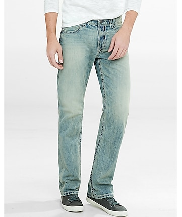 boot leg classic fit acid wash jeans