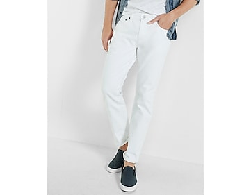 tapered leg classic fit white jeans