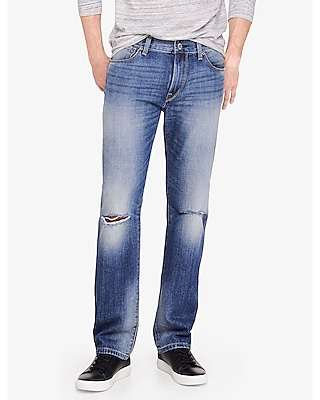 Express Mens Destroyed Kingston Classic Straight Leg Jean