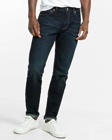 tapered leg classic fit dark wash jeans
