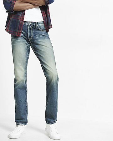 tapered leg classic fit faded jeans