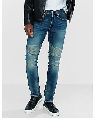 Express Mens Express Mens Skinny Leg Performance Stretch Heavy Fade Moto Jeans Blue W28 L32