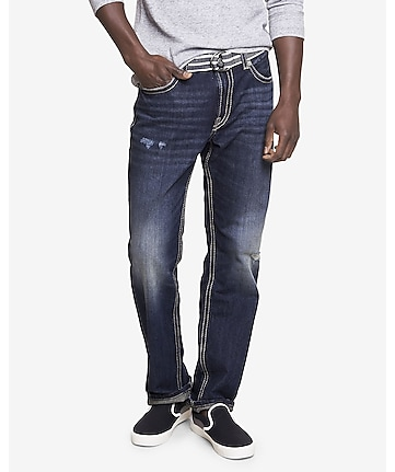 loose fit blake dark wash straight leg jean