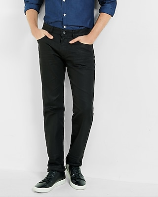 Express Mens Slim Straight Black Coated Stretch Jeans