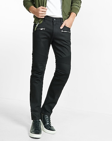 slim leg slim fit black moto jean