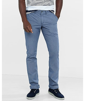 slim blue microprint finn chino pant