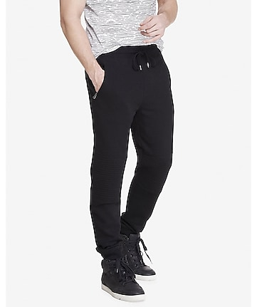 jogger black quilted moto fleece pant