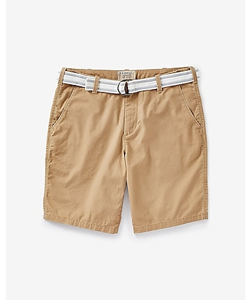 dark khaki 10 inch belted flat front cotton shorts