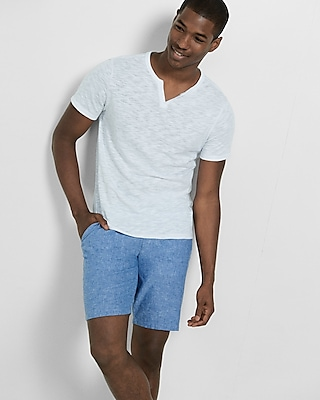 Express Mens Classic Fit 10 Inch Linen-Cotton Flat Front Shorts