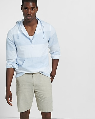 Express Mens Classic Fit 10 Inch Linen-Cotton Flat Front Shorts Neutral 38