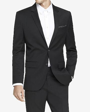 modern producer wool blend black suit jacket