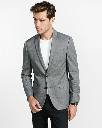 slim photographer gray textured blazer