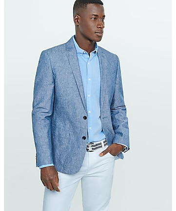 slim photographer linen-cotton blue blazer
