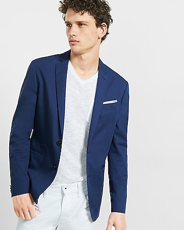 slim photographer twill blue jacket