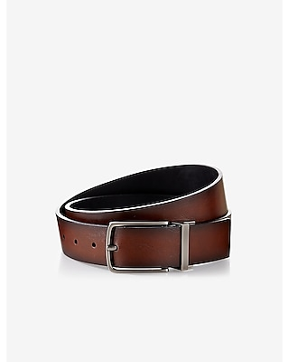 Express Mens Reversible Antiqued Metal Buckle Belt