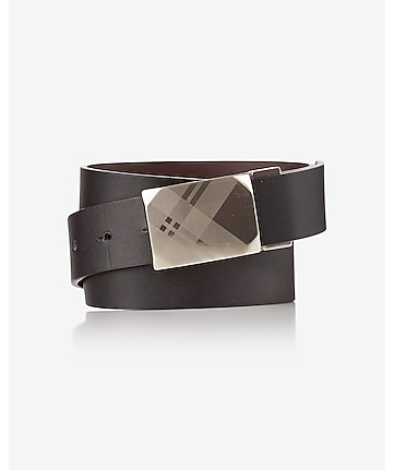 plaid etched buckle belt