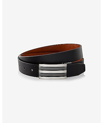 reversible mixed texture stripe plaque belt