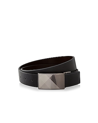 Express Mens Reversible Plaid Buckle Belt