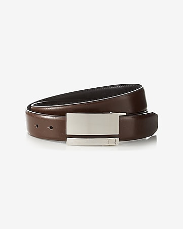 2-IN-1 reversible leather plaque belt