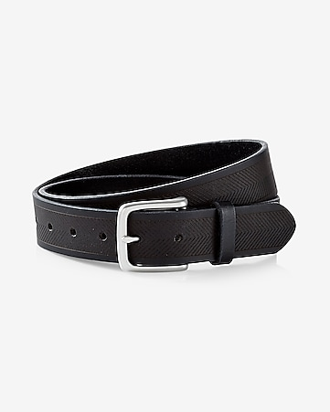 leather chevron buckle belt