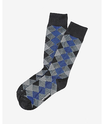 textured diamond dress socks