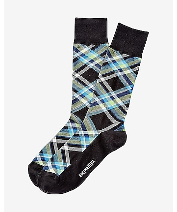multi color plaid dress socks