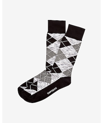 space dye argyle dress socks - black