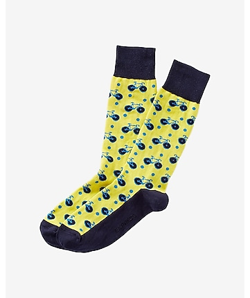 bicycle print dress socks
