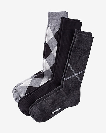 black, white and gray checked dress sock set