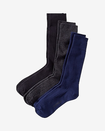 solid ribbed dress sock three pack