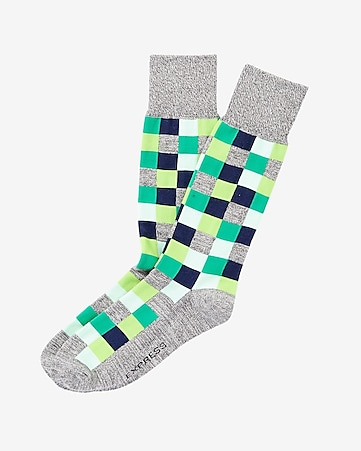 marl check print dress sock
