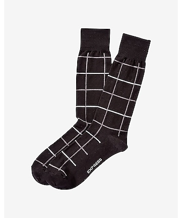 windowpane dress socks
