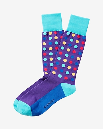 bright multicolor dot dress socks