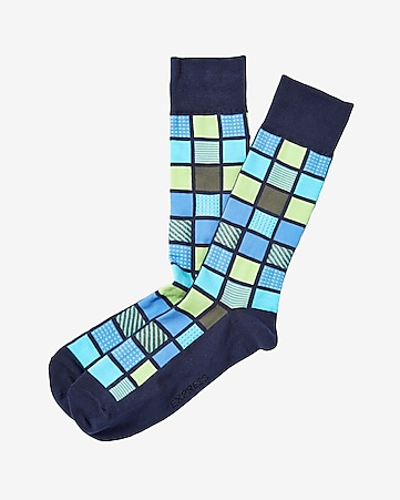 multicolor window square dresss socks