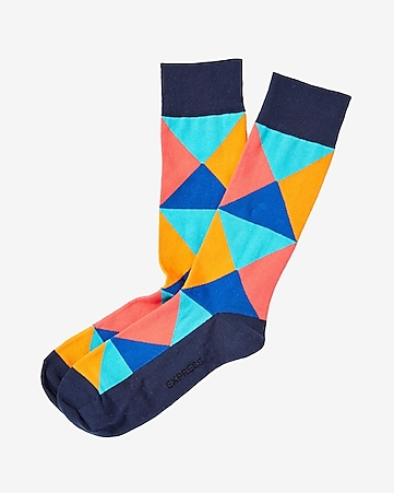 triangle print dress socks